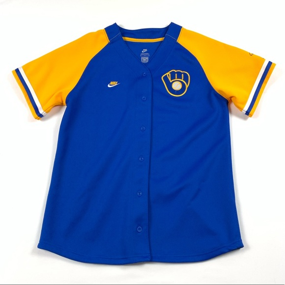 hot sale online b595a ac0be Nike Milwaukee Brewers Baseball Jersey Womens Med